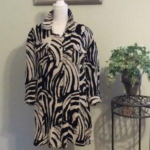 ❤️ Linen cream/black animal print long blouse